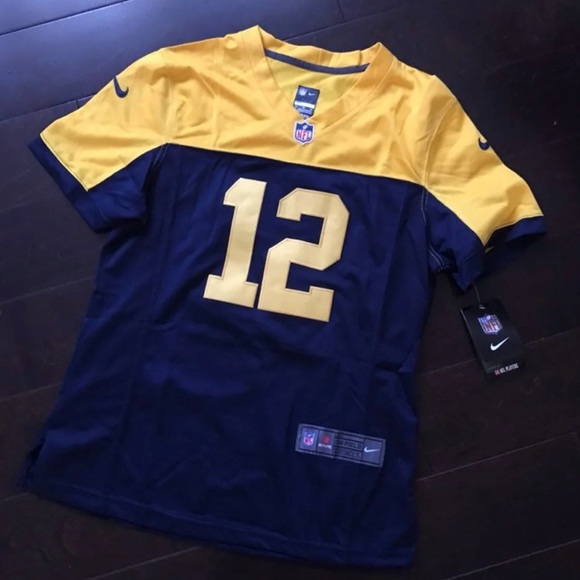 quality design ad9d2 81b5f Packers Aaron Rodgers Blue and Yellow Jersey NWT